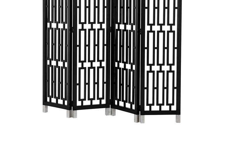 Indonesian Black Lacquered Folding Screen Mahogany Wood For Sale