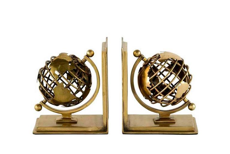 Earth Bookend Set of Two in Nickel Finish or Brass Finish, 2016 For Sale 1