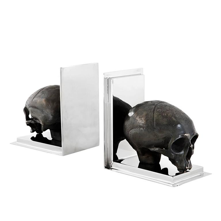 Indian Skulls Bookend Set of Two in Nickel Finish and Antique Brass For Sale