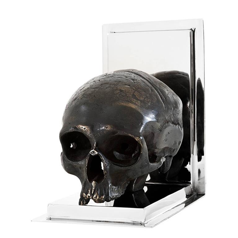 Skulls Bookend Set of Two in Nickel Finish and Antique Brass In Excellent Condition For Sale In Paris, FR