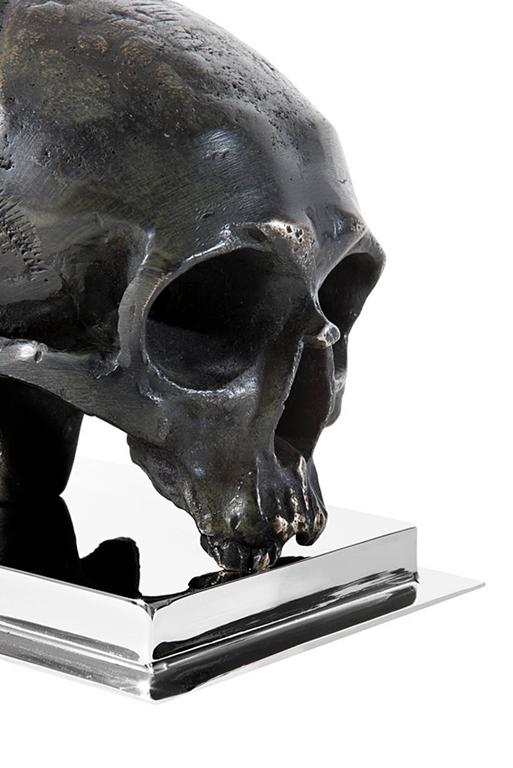Polished Skulls Bookend Set of Two in Nickel Finish and Antique Brass For Sale