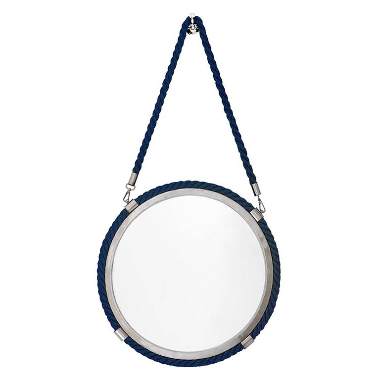 Blue Cord Mirror in Polished Nickel Finish For Sale