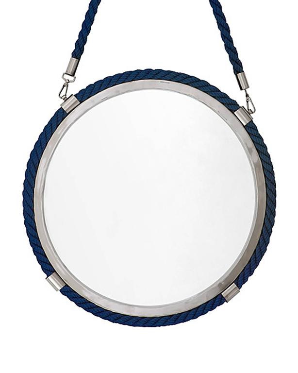 Dutch Blue Cord Mirror in Polished Nickel Finish For Sale