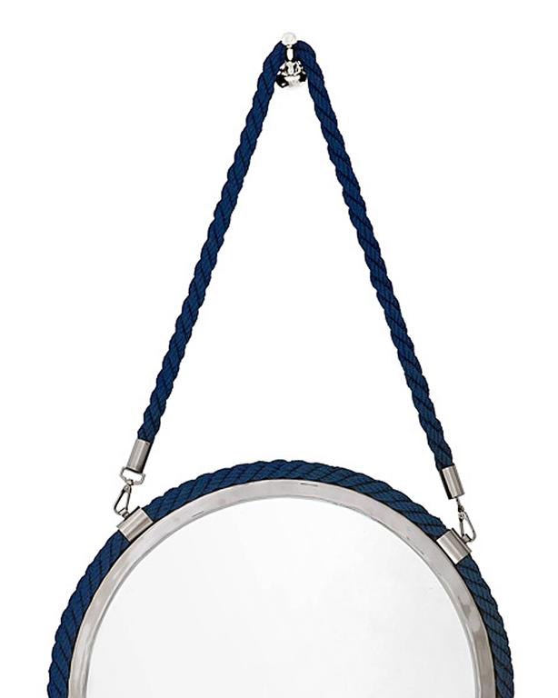 Round mirror blue cord in polished nickel finish