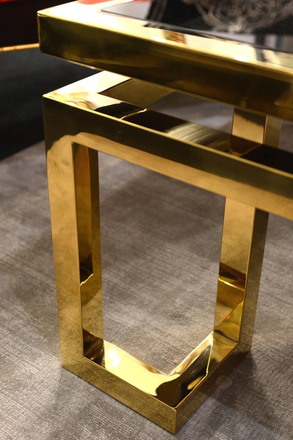 Angles Coffee Table Gold Finish With Black Glass For Sale At 1stdibs