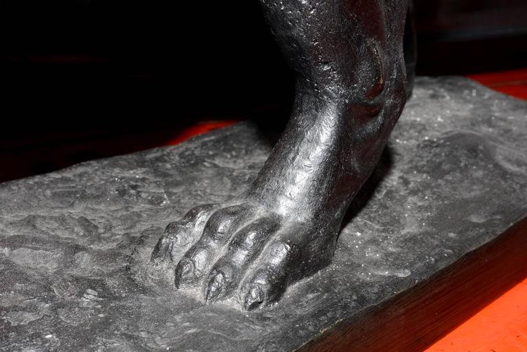 Lion Sculpture in Bronze Black Finish For Sale 4