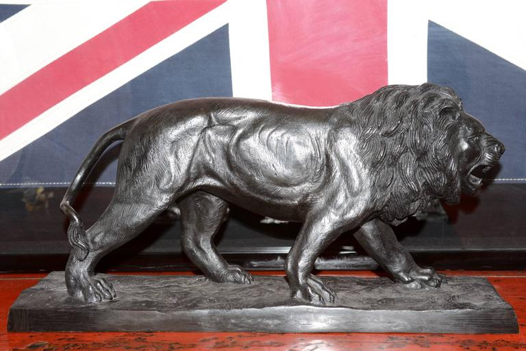 French Lion Sculpture in Bronze Black Finish For Sale