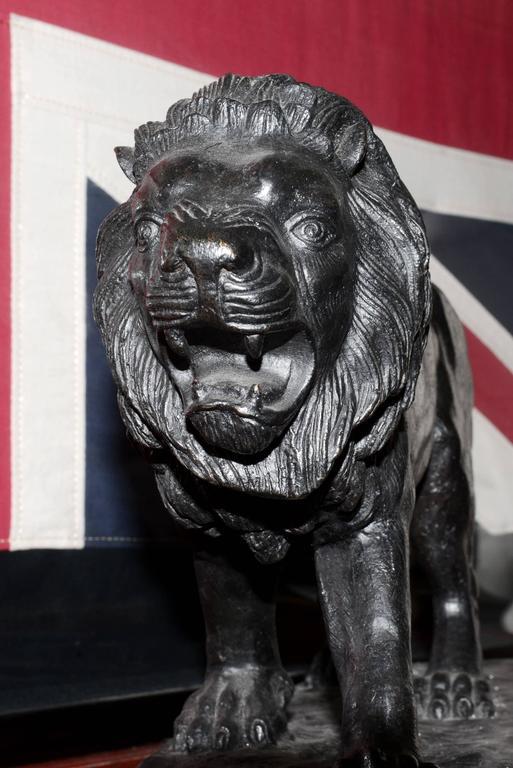 Lion Sculpture in Bronze Black Finish For Sale 1
