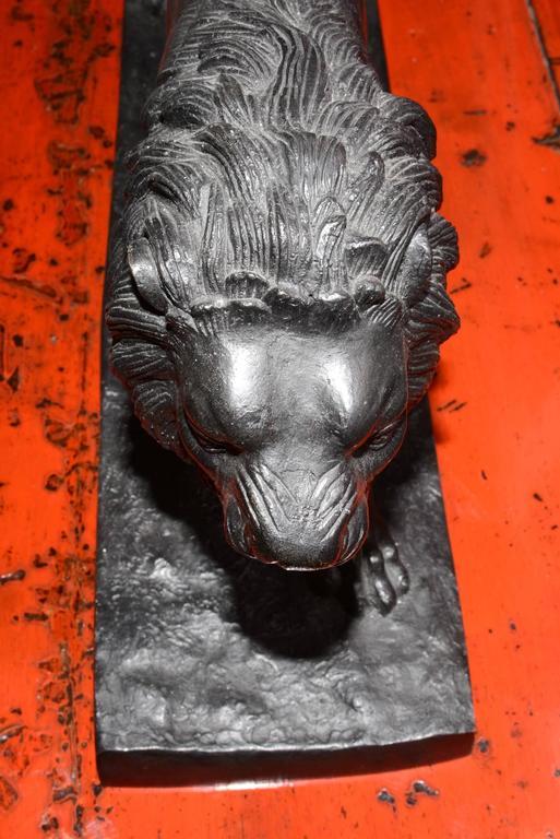 Lion Sculpture in Bronze Black Finish For Sale 3