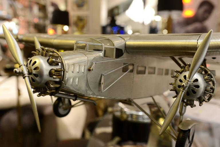 Trimotor aircraft model Ford handcrafted in aluminum.
