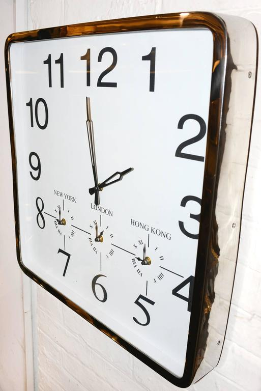 Square Wall Clock With Four Time Options At 1stdibs