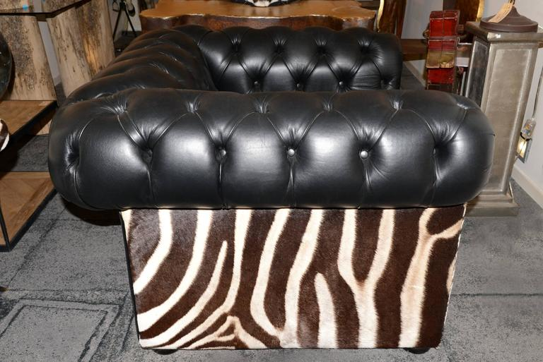 Hand-Crafted Zebra Armchair with Real Zebra Skin and Black Leather For Sale