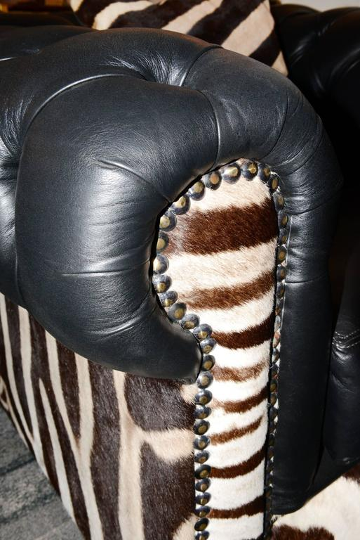 Contemporary Zebra Armchair with Real Zebra Skin and Black Leather For Sale