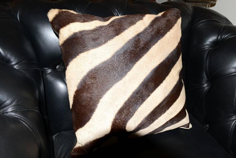 Animal Skin Zebra Armchair with Real Zebra Skin and Black Leather For Sale