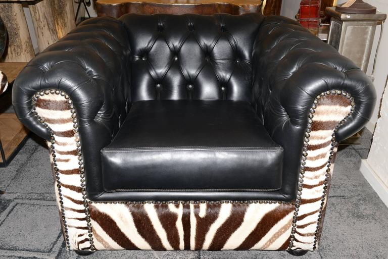 French Zebra Armchair with Real Zebra Skin and Black Leather For Sale