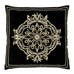 Queen Pillow with Silver Thread and Black Velvet