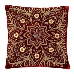 Red Star Pillow with Gold Color Thread and Red Velvet