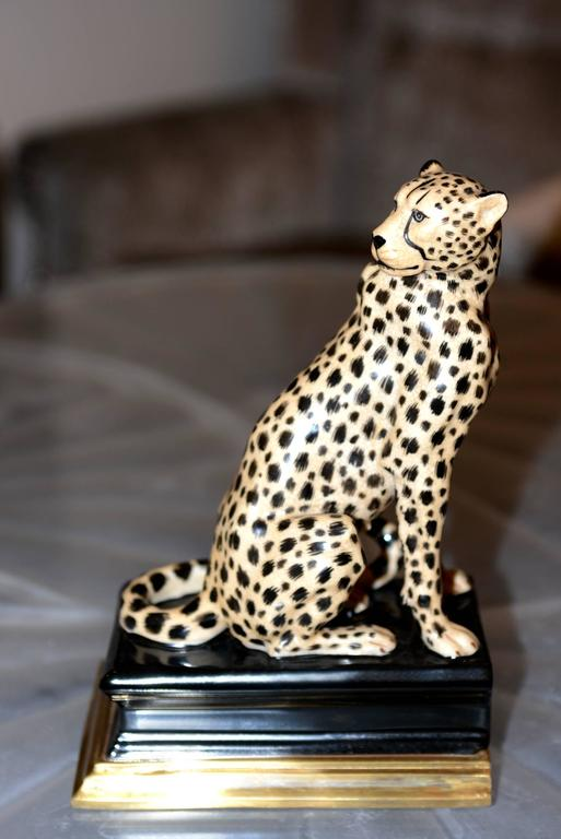 Set of two bookends Cheetah in porcelain
