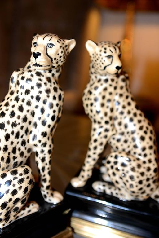 Painted Cheetah Bookends Set of Two in Porcelain with Brass Base For Sale