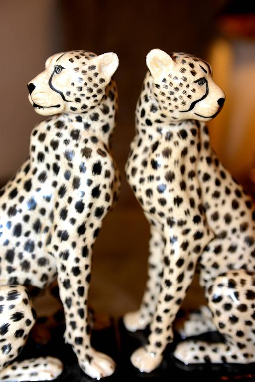 Cheetah Bookends Set of Two in Porcelain with Brass Base For Sale 1