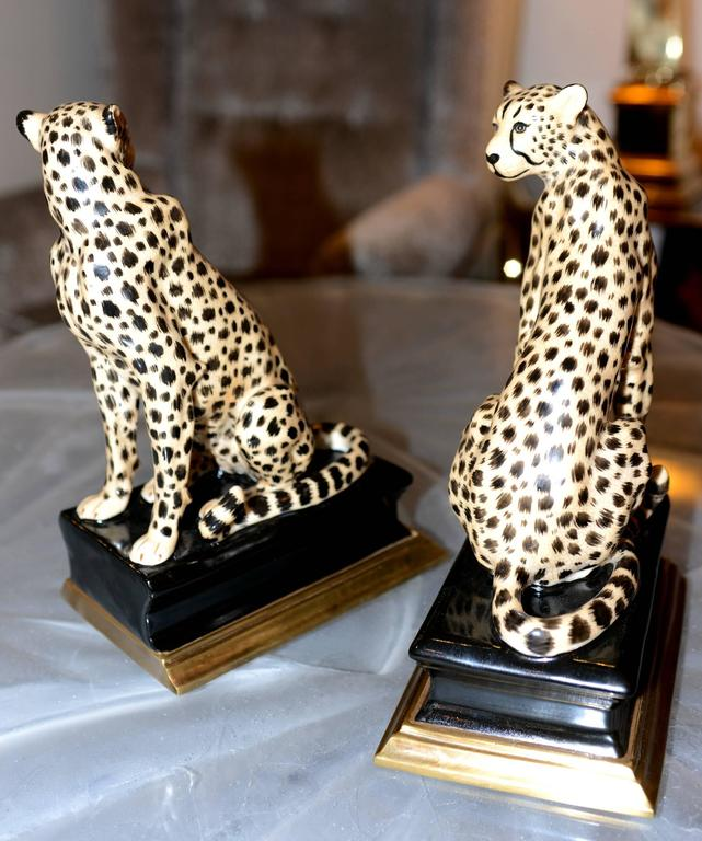 Cheetah Bookends Set of Two in Porcelain with Brass Base For Sale 4