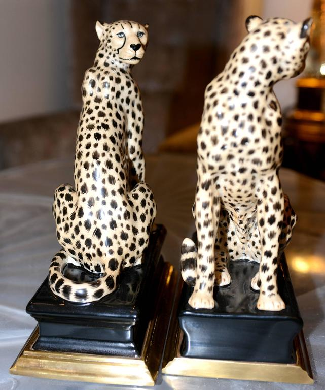 Cheetah Bookends Set of Two in Porcelain with Brass Base For Sale 2