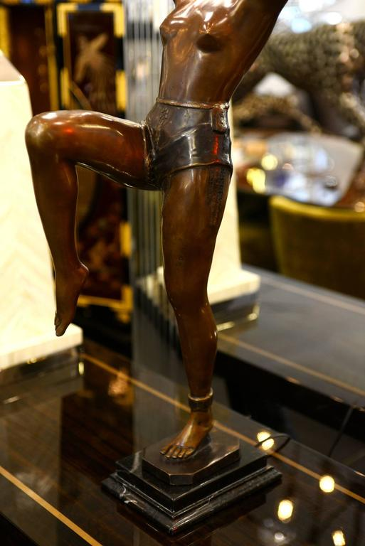 Lady Table Lamp in Bronze on Marble Base For Sale 2