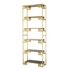 Baroque Shelve in Gold Finish with Smoke Glass