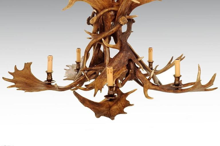 Hand-Crafted Reindeer Master Chandelier with Five Partridge Feather Shades For Sale