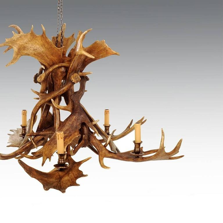 Antler Reindeer Master Chandelier with Five Partridge Feather Shades For Sale