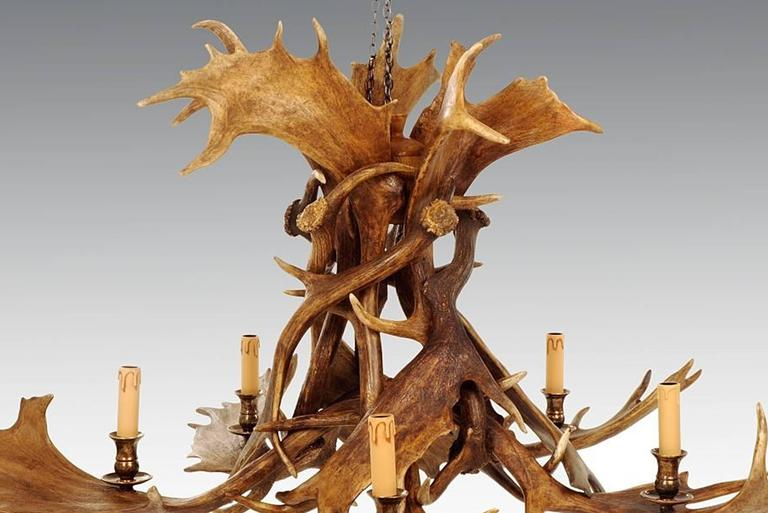 Contemporary Reindeer Master Chandelier with Five Partridge Feather Shades For Sale