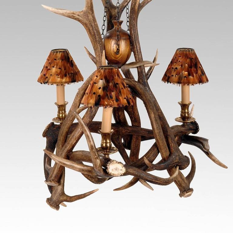 Three Antlers Chandelier Vintage Brass Finish Three