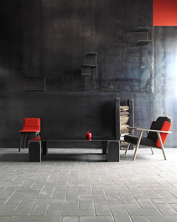 Double Coffee Table in Handcrafted Lacquered Steel For Sale 2
