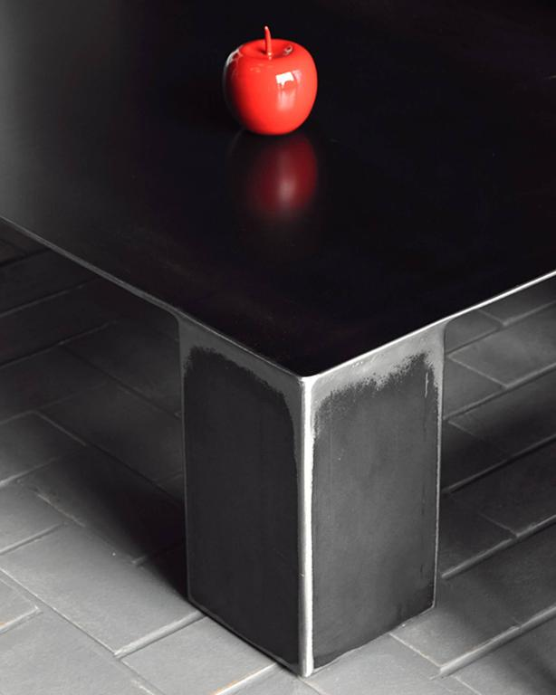 Hand-Crafted Double Coffee Table in Handcrafted Colorless Varnished Steel For Sale
