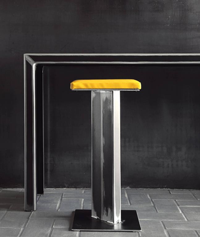 acier full console table in handcrafted steel for sale at 1stdibs. Black Bedroom Furniture Sets. Home Design Ideas