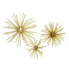 Space Decoration Objects Set of Three in Gold Finish