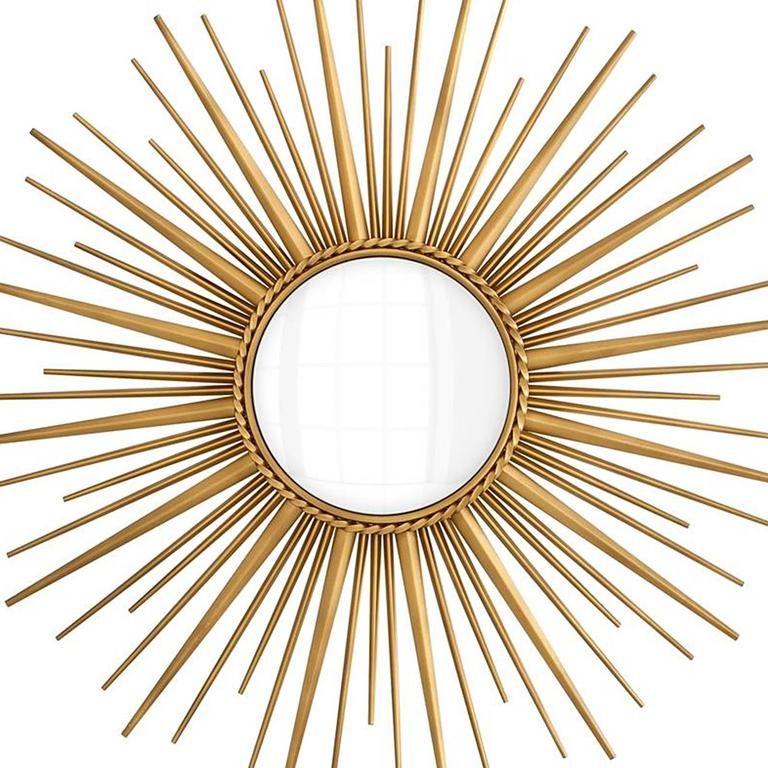 Sun Mirror In Antique Gold Finish And Convex Mirror For