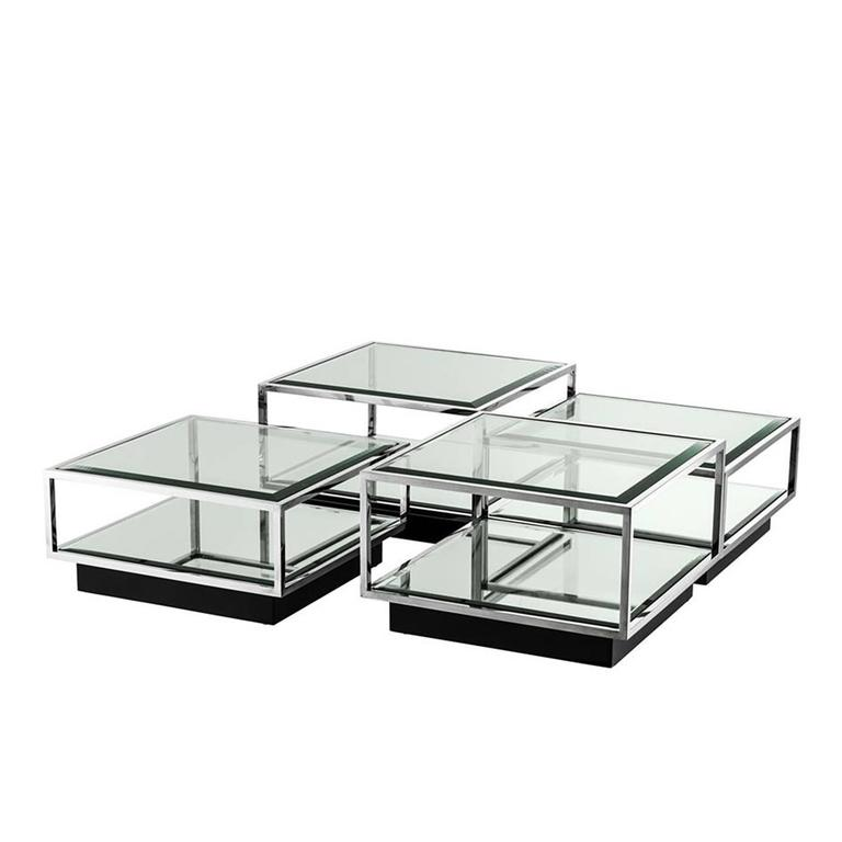Astra Coffee Table Set Of Four In Polished Stainless Steel Glass And Mirror Glass For Sale At
