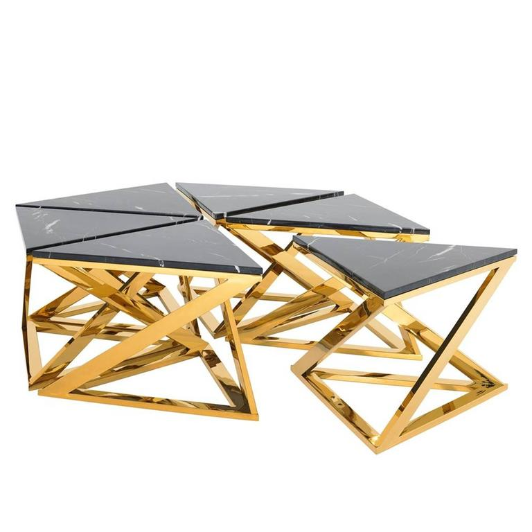 Ellipse Coffee Table Set Of Six Table In Gold Finish With
