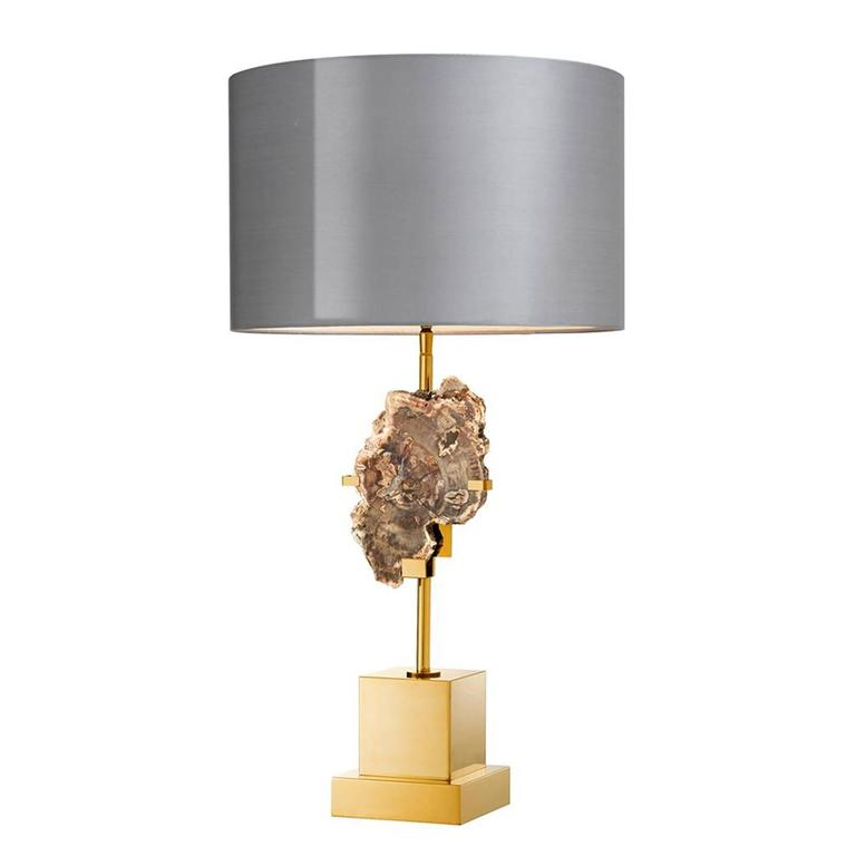 dominus table lamp in gold finish with petrified wood for sale at 1stdibs. Black Bedroom Furniture Sets. Home Design Ideas
