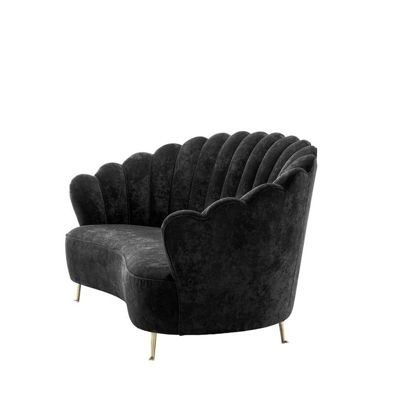 Shell Sofa In Black Velvet With Brass Feet 2