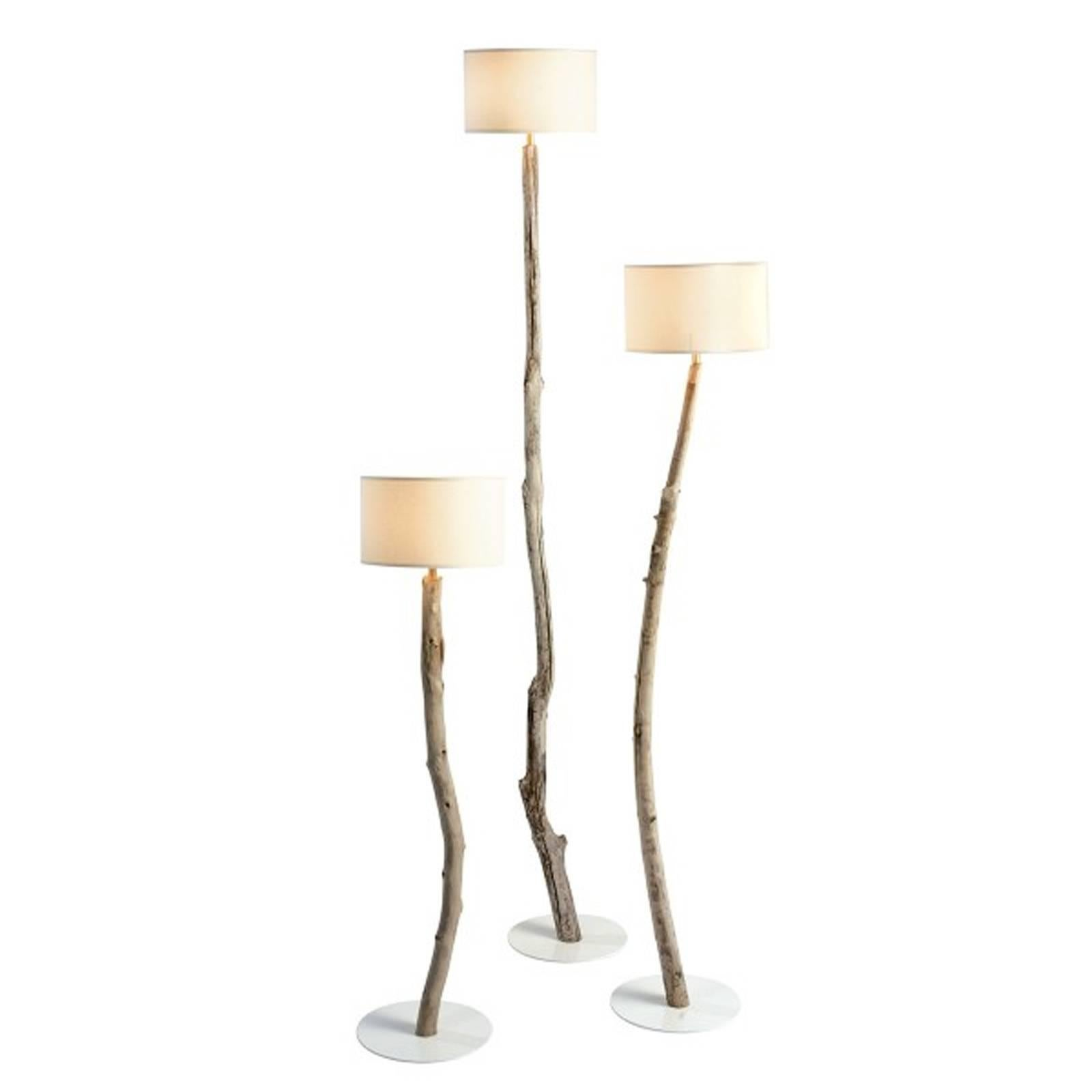 Driftwood Floor Lamps Set of Three in Natural Driftwood