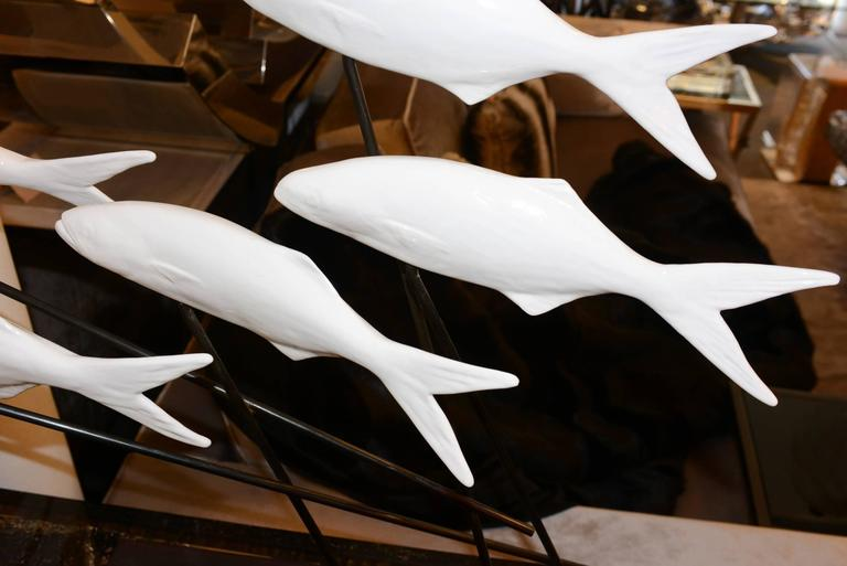 French Fishes Sculpture in White Ceramic on Bronze Base by Dablemont For Sale