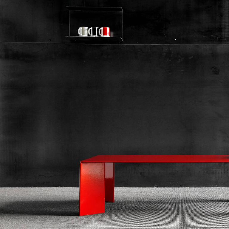 Hand-Crafted Laqué Rouge Coffee Table in Red Lacquered Steel For Sale