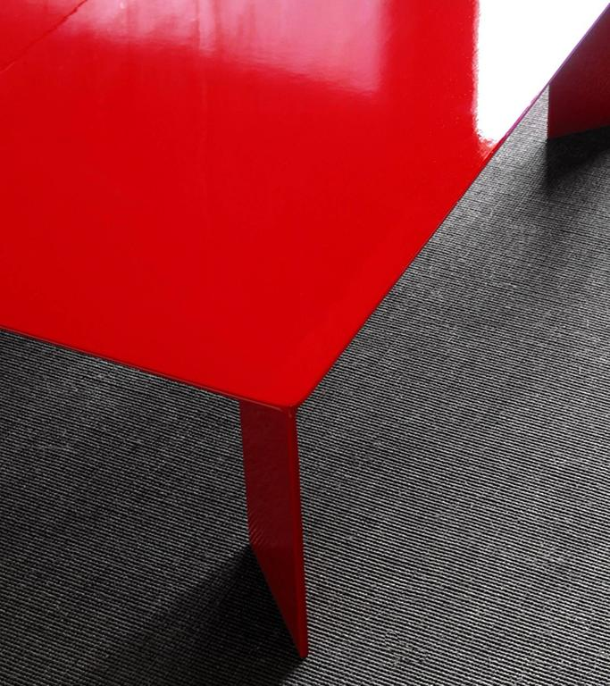 Contemporary Laqué Rouge Coffee Table in Red Lacquered Steel For Sale