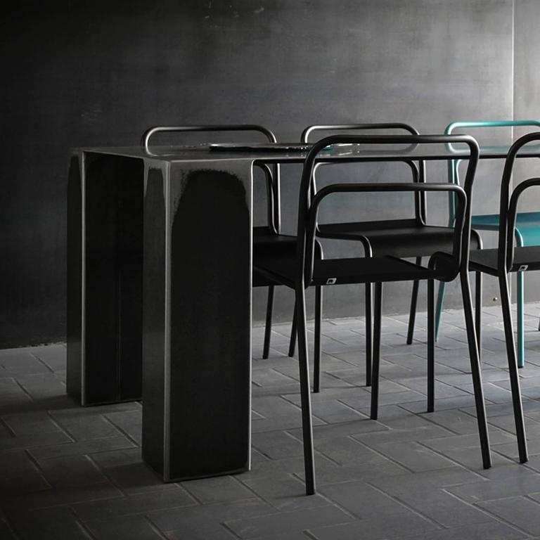 Contemporary Acier Dark Dinning Table in Handcrafted Steel For Sale
