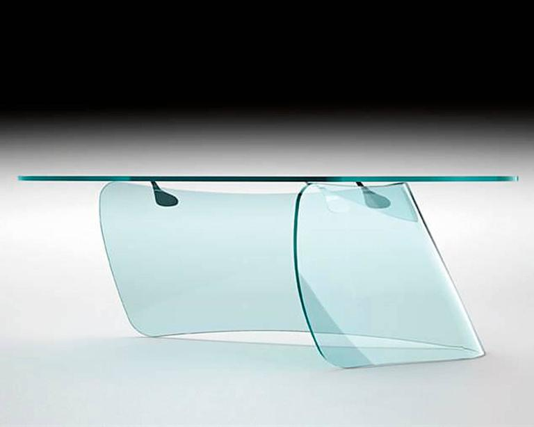 Italian Absolut Desk with Curved Glass and Clear Glass Top For Sale