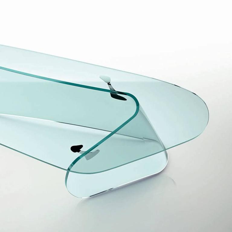Contemporary Absolut Desk with Curved Glass and Clear Glass Top For Sale