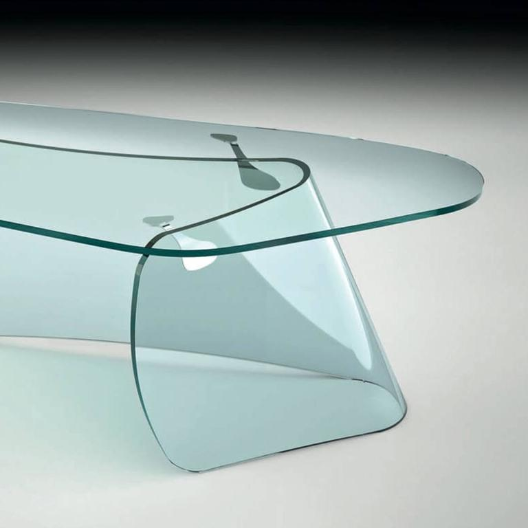 Stainless Steel Absolut Desk with Curved Glass and Clear Glass Top For Sale