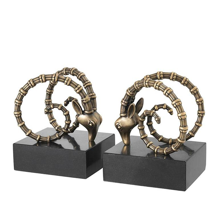 Calabra Brass Bookends, Set of Two in Brass Finish and Granite
